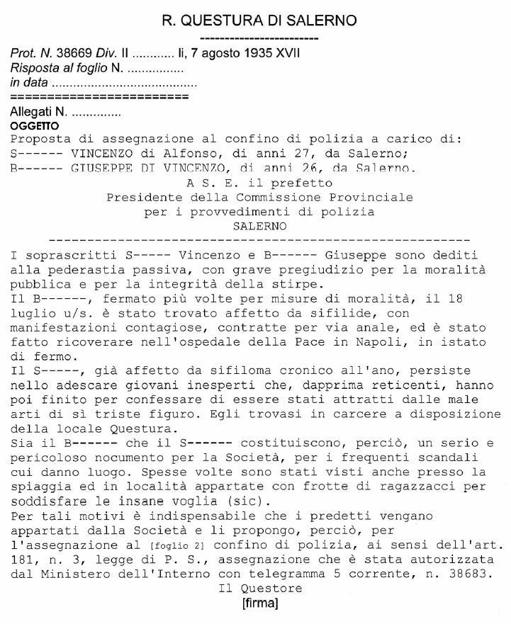 Provvedimento di confino della Questura di Salerno