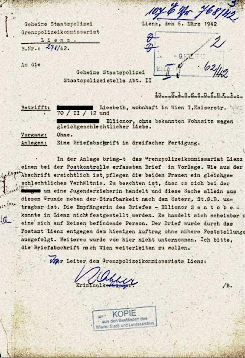 Documento di sorveglianza di due lesbiche austriache (1942)